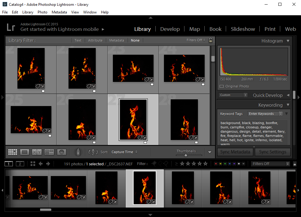 Lightroom screen capture keyword workflow