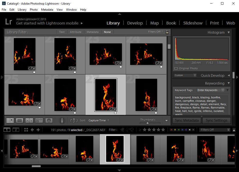 Lightroom screen capture keyword workflow